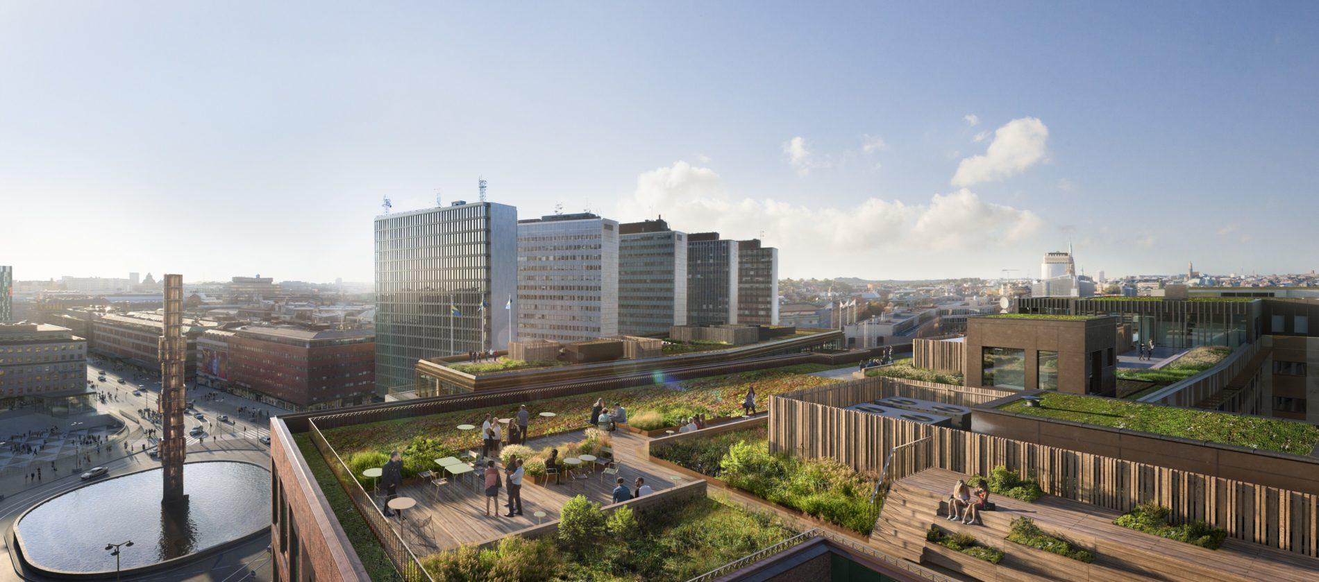 En visionsbild som visar takterrassen på ett av Sergelhusen och hur utsikten ser ut.