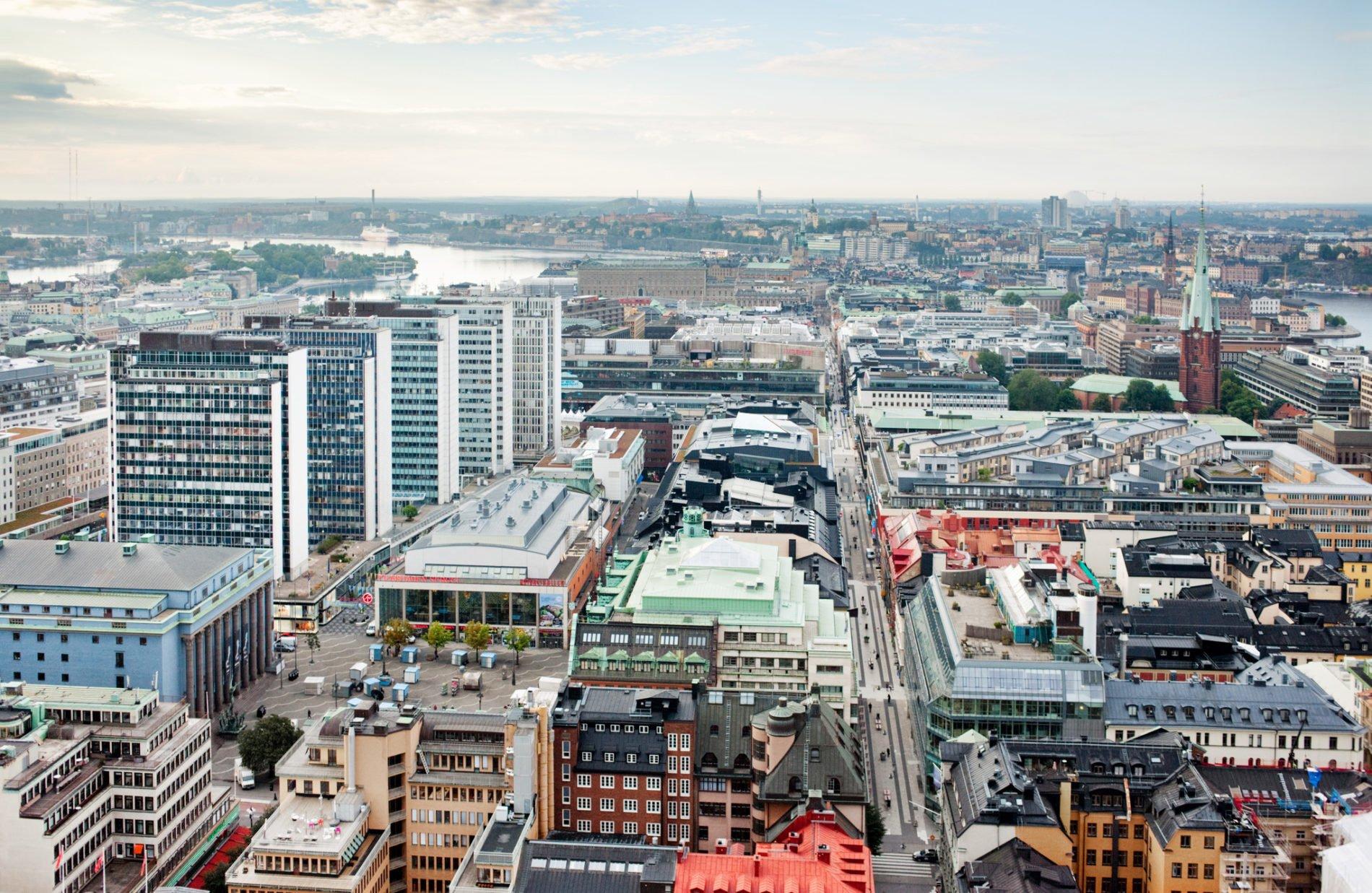 Flygbild över Stockholm city